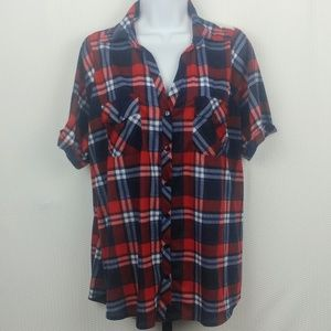 Tops - Rich n Beautiful Red White Blue Flannel Lace Back